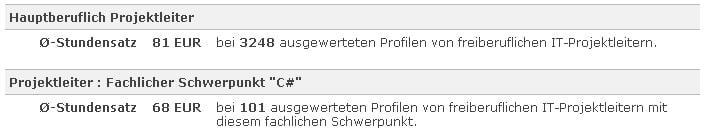 """Tabelle: Höhere Stundensätze (68 Euro) ergibt die Suche nach """"Projektleiter"""" und C#."""
