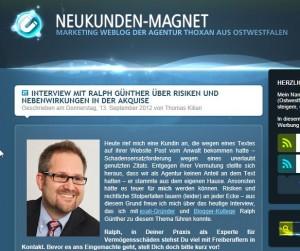 (Haftungs-)Risiken in der Akquise & deren Absicherung: Interview mit mir auf dem Blog Neukunden-Magnet. Mit Checkliste zur Berufshaftpflicht am Ende…