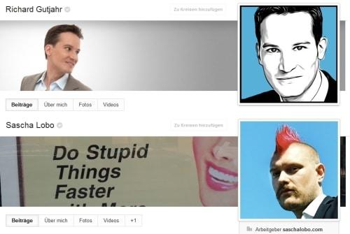Die Screenshots der öffentlichen Google+-Profile der Blogger Sascha Lobo und Richard Gutjahr zeigen: Hier gehen zwei Netzprofis mit gutem Beispiel voran, was den Wiedererkennungswert ihrer Fotos angeht.