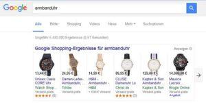 Screenshot Google Product Listing Ads