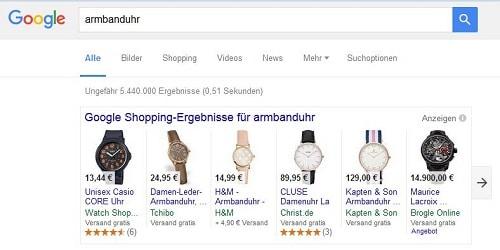 Sucht jemand bei Google nach Produkten (wie einer Armbanduhr) bekommt er Product Listing Ads zu sehen.