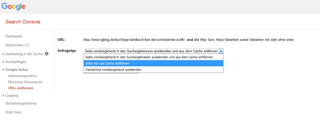URLs in der Search Console aus dem Google-Cache entfernen