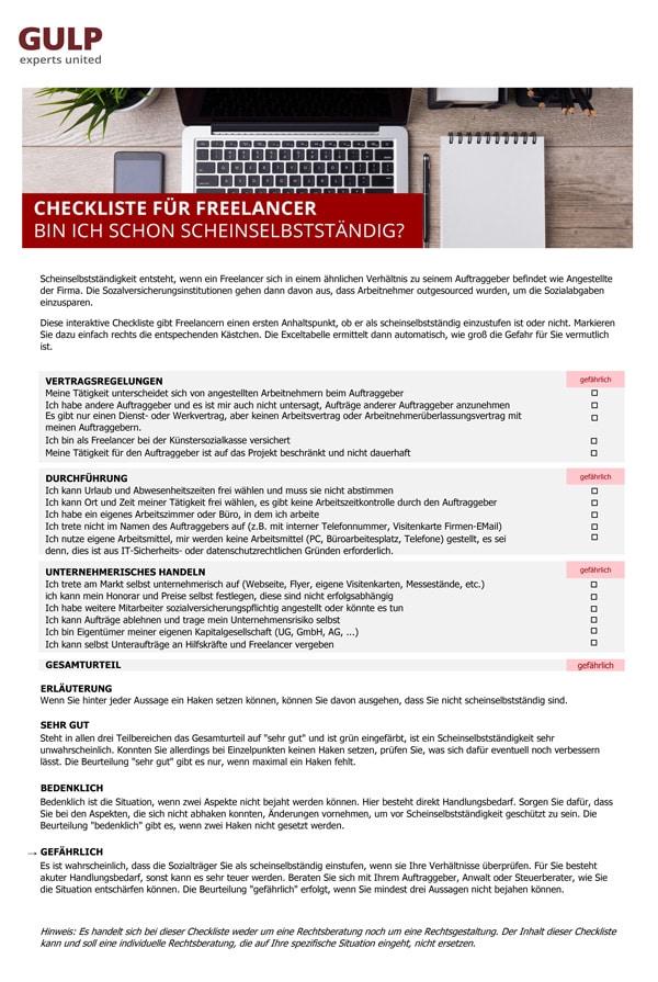 Checkliste für Freelancer um zu testen, ob man scheinselbständig ist.