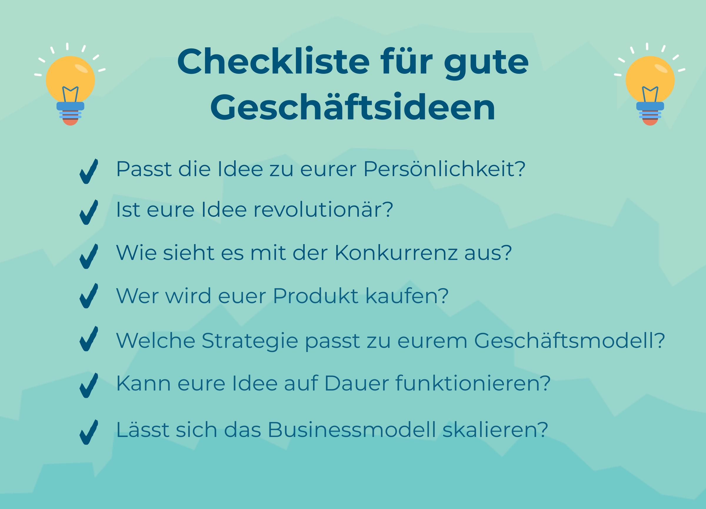 Checkliste mit Fragen für eine gute Geschäftsidee